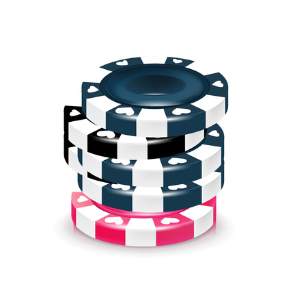 chips stack: stack of poker chips isolated on white background
