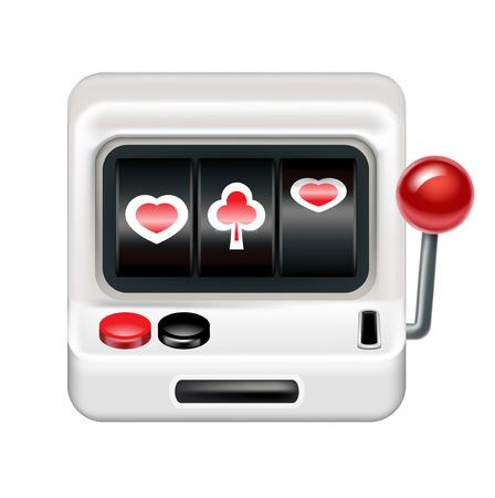 lever arm: slot machine isolated on white background