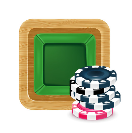 poker chips and playing table isolated on white Vector