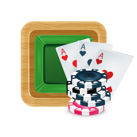 playing cards with poker chips on table isolated on white Stock Vector - 22751043