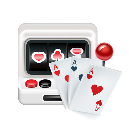 lever arm: slot machine with playing cards isolated on white background