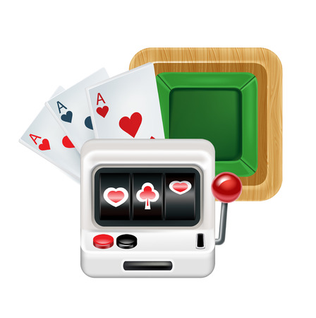 slot machine with cards and playing table isolated on white background