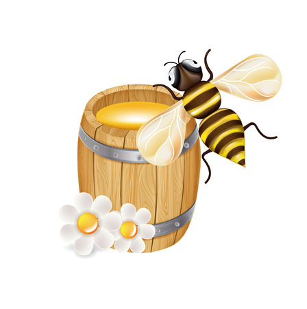 organic fluid: honey bee with wooden barrel and flowers isolated on white