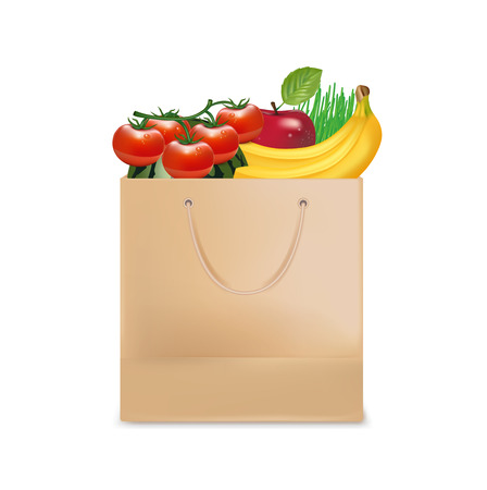 shopping bag and groceries isolated on white Vector