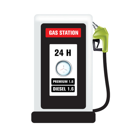 distilling: gas pump nozzle and gas station isolated on white  Illustration