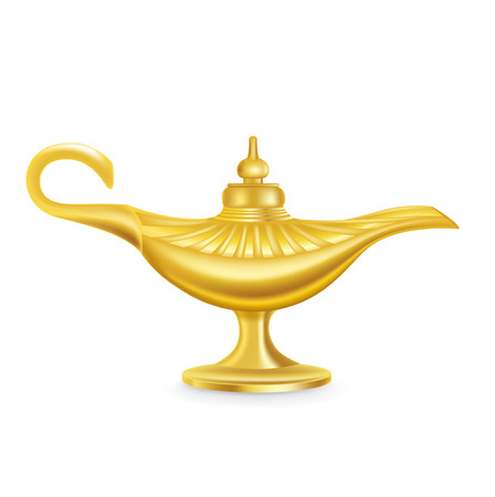three wishes: single magic lamp isolated on white background Illustration