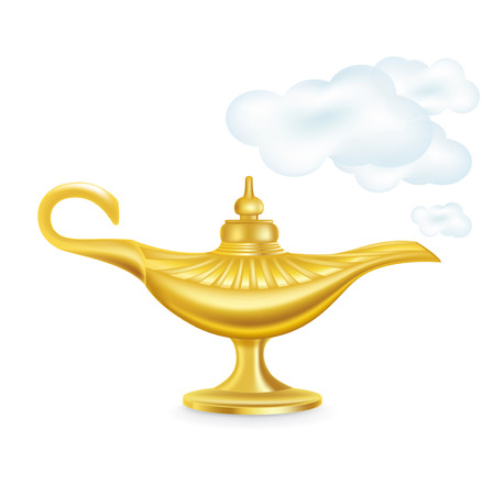 golden magic lamp with smokey clouds isolated on white Stock Vector - 24510449