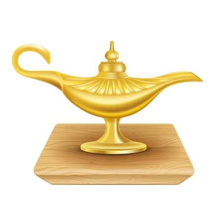 three wishes: golden magic lamp on wooden surface isolated on white background Illustration