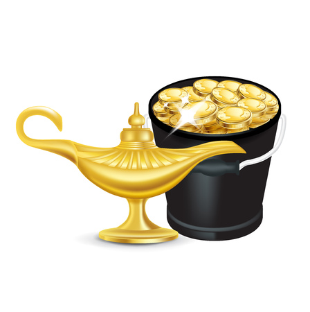 magic lamp and bucket of golden coins isolated on white Vector