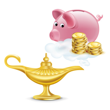 nights: magic lamp with golden coins and piggy bank isolated on white