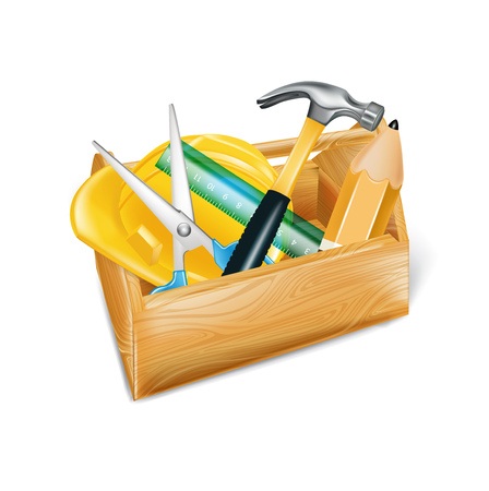 wooden tool box with hard hat, hammer, ruler, and scissors isolated on white  Vector