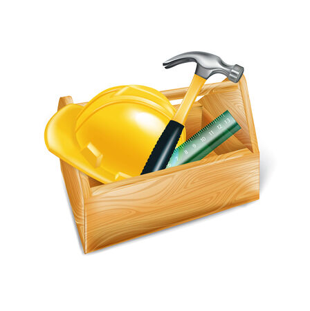 mending: wooden tool box with hard hat, hammer and ruler isolated on white