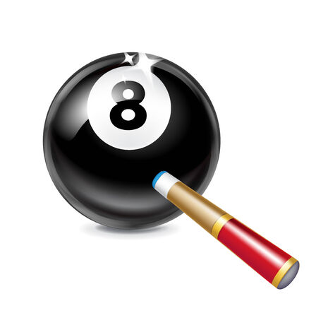 number eight billiard ball isolated on white background with cue  Vector