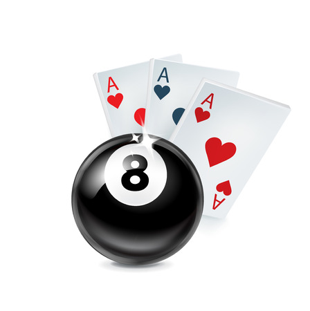 aces playing cards with number eight ball isolated on white background Vector