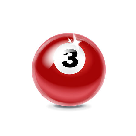 billiard three red ball isolated on white background Vector