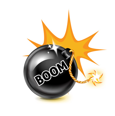 exploding bomb and boom sign isolated on white