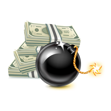stock of money and exploding bomb isolated on white