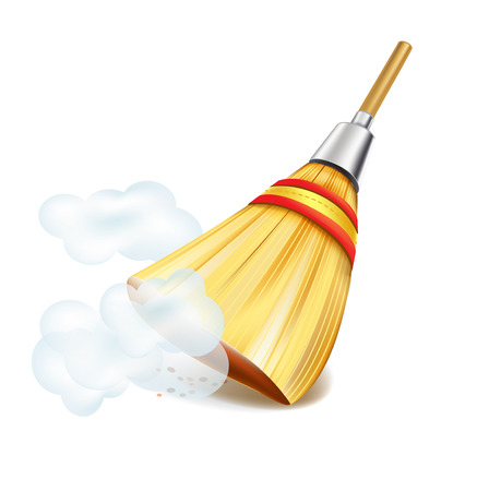 broom in dust clouds isolated on white backgrounds Illustration
