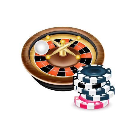 casino roulette with poker chips isolated on white