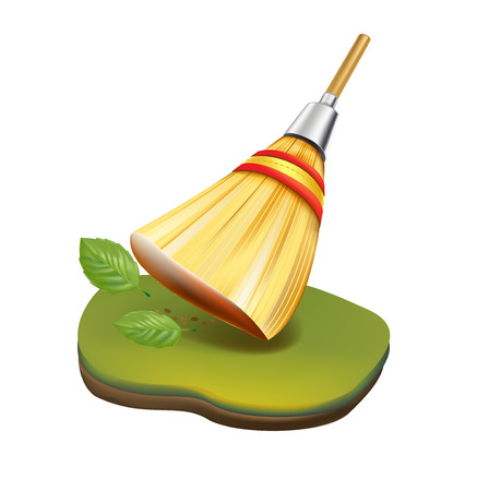 straw broom cleaning in garden concept isolated on white  Иллюстрация