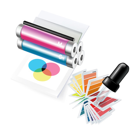 printer and eyedropper with samples isolated on white Иллюстрация