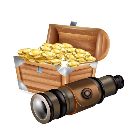 telescope with treasure chest isolated on white background