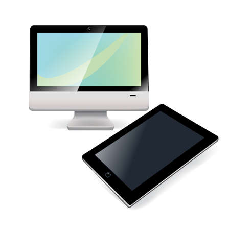 tablet with desktop computer isolated on white background Stock Vector - 24972754