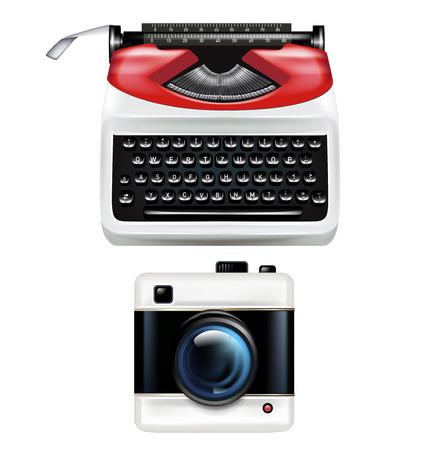 type writer: retr� macchina da scrivere e la fotografia fotocamera isolato su bianco