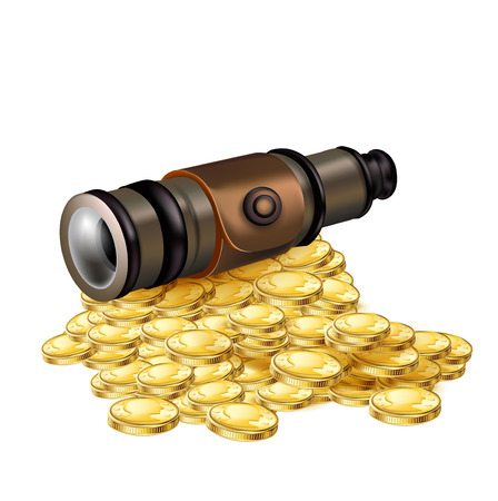 telescope with golden coins isolated on white  Vector