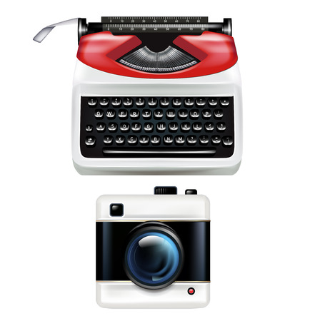 retro typewriter and photography camera isolated on white Vector