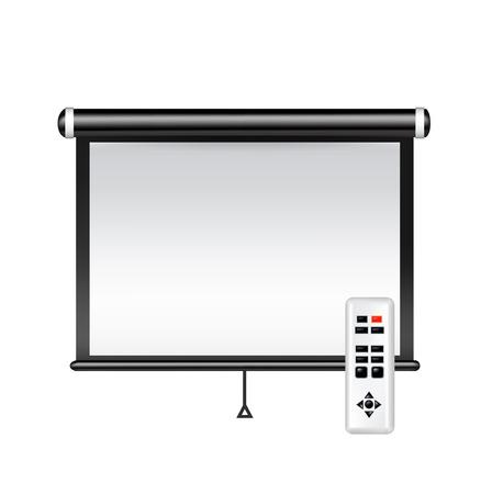 projector screen: schermo del proiettore isolato su bianco