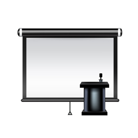 projector screen with presentation table and microphone isolated Vector