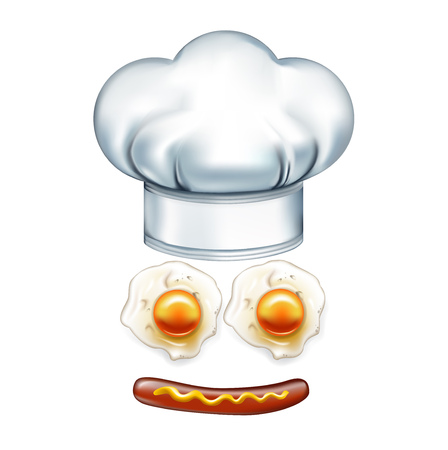 chef hat and smiley face made of wurst and eggs isolated Vector
