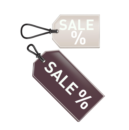 grey and brown promotional sale tags isolated on white background Illustration