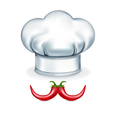chef hat with pepper mustache isolated on white background