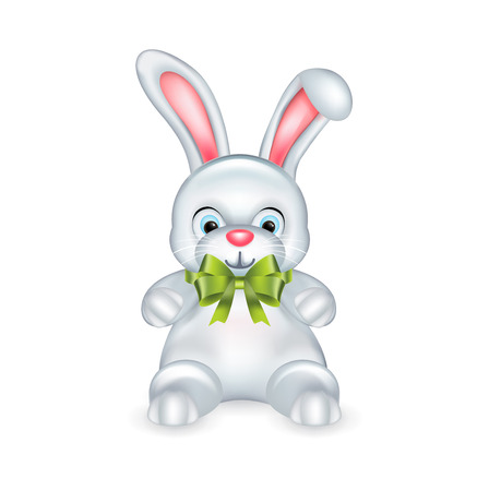 white rabbit with green bow isolated o white background Vector