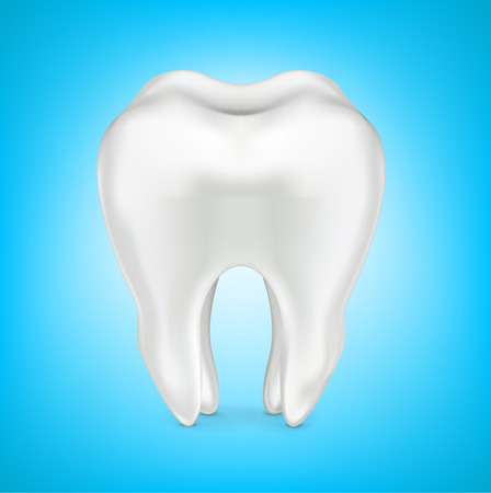 dental hygienist: tooth in clean shinny blue background isolated on white background Illustration