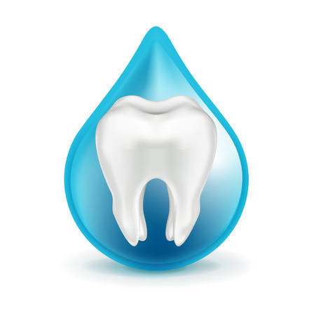 shedding: tooth in blue drop isolated on white background Illustration