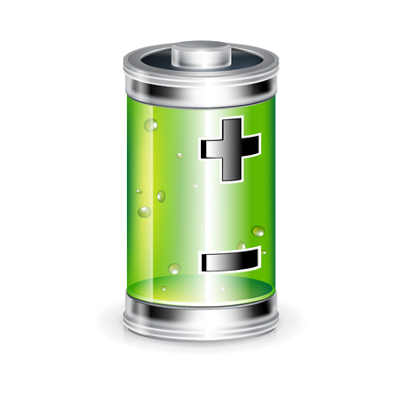 battery with plus minus sign isolated on white