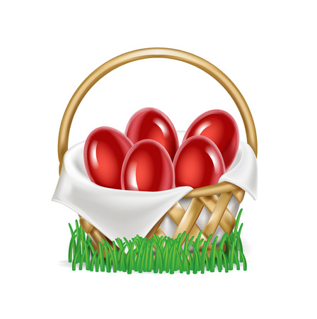 easter eggs in straw basket on grass isolated on white Illustration