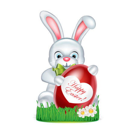easter bunny with red egg standing on green grass with happy easter message Vector