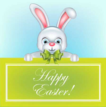 easter bunny with green bow holding happy easter message