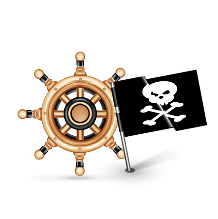 steering wheel and pirate flag isolated on white background Vector