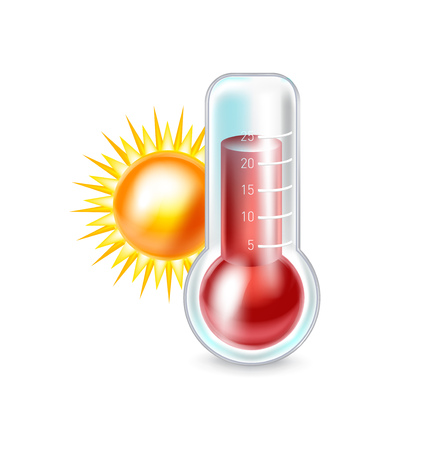 growth hot: thermometer and sun isolated on white