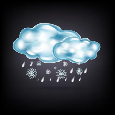 slush: clouds with rain and snow on dark background Illustration