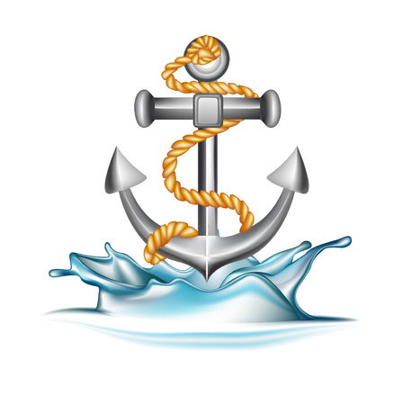 anchor falling in water splash isolated on white Иллюстрация