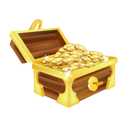 open treasure chest with gold isolated on white