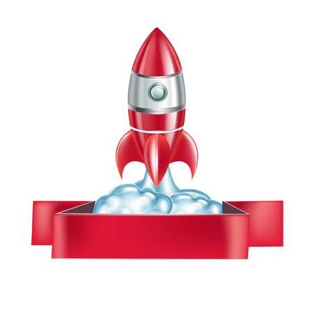 booster: rocket emblem isolated on white background