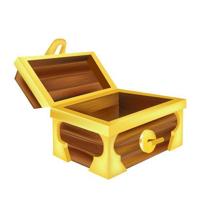 open empty treasure chest isolated on white
