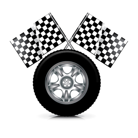 road ring: car tire and racing flags isolated on white background